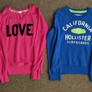 Hollister and pink crew sweaters size medium
